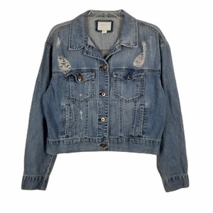 Denim Jean Jacket Cropped Light Wash Ripped Distressed Button Front Medium Blue